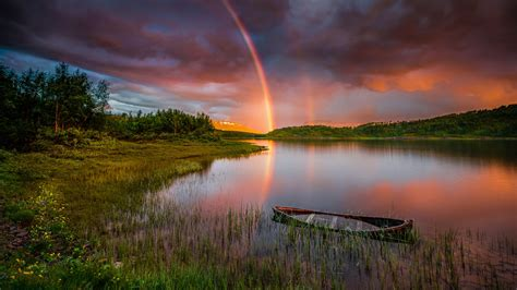 Sunset Rainbow After Rain Lake Boat Forest Trees Sky With