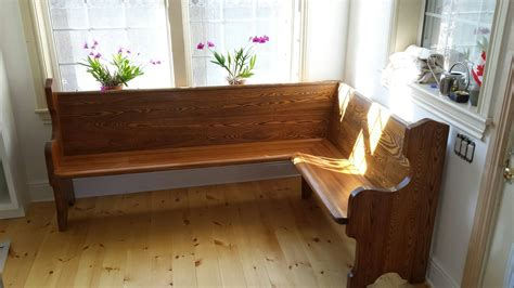 Church pew turned into a corner seat for a breakfast bar