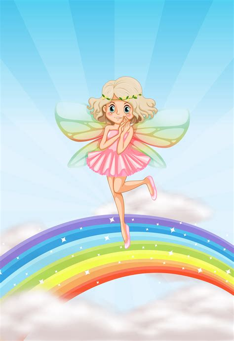 A cute fairy on rainbow - Download Free Vectors, Clipart