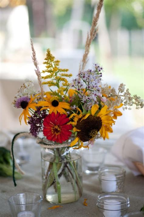 Simple wildflower centerpieces… is this going to be super