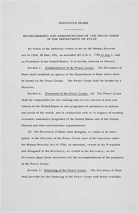 Founding Documents of the Peace Corps | National Archives